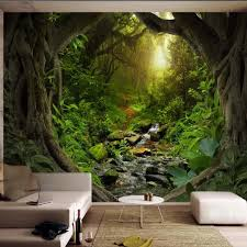 3d Forest Stream Tree Wallpaper Wall Mural Decals For Living Room Bedroom Hand Painting Hd Printed Photo Wallpapers Custom Size Wallpapers Aliexpress