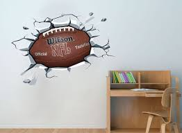 Nfl Football Ball Sticker On The Wall Decal Effect Boys Football Room Boys Room Decor Football Bedroom