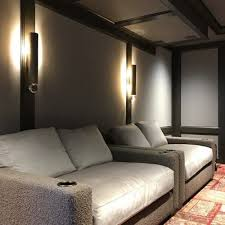 stretched fabric panels in media room