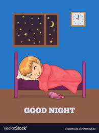 good night poster with sleeping in