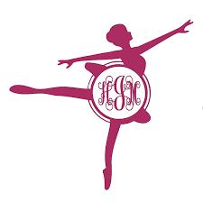 Amazon Com Custom Initial Monogram Vinyl Decal Bumper Sticker For Tumblers Laptops Car Windows Ballerina Dancer Dance Vinyl Decal Design 3 Handmade