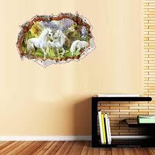Bibitime Break Through Wall Art Forest Castle 3 White Unicorn Decal For Girls Room Living Room