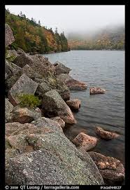 Picture/Photo: Rocky shore in autumn, Jordan Pond. Acadia National Park