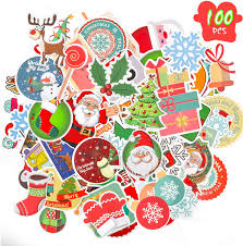 Amazon Com Konsait 100pcs Christmas Stickers Bulk No Repetition Cartoon Christmas Waterproof Graffiti Vinyl Decal Stickers Pack For Cards Bags Boxes Scrapbook Window Glass Christmas Holiday Decorations Supplies Toys Games