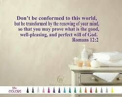 Romans 12 2 World Perfect Will Of God Bible Verse Wall Quote Vinyl Decal Sticker Ebay