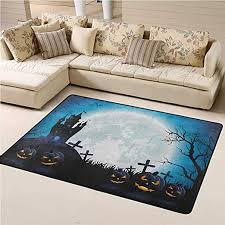 Amazon Com Indoor Modern Area Rugs Halloween Indoor Dining Carpet Spooky Concept With Scary Icons Old Celtic Harvest Figures In Dark Image Holiday Print For Children Kid Playroom Bedroom Blue 4 7 X6 6 Kitchen