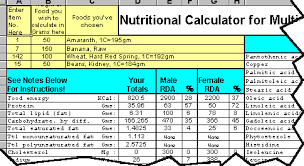 nutritional calculator spreadsheet
