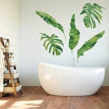 5 Large Tropical Decals Palm Leaf Decals Fabric Matte Wall Decals
