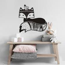 Tribal Fox Nursery Wall Decal Woodland Cute Fox Vinyl Wall Sticker For Kids Room Baby Bedroom Nursery Decor Home Decoration A737 Wall Stickers Aliexpress