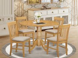 Dlno5 Oak C 5 Pc Small Kitchen Table Set Round Kitchen Table And 4 Dining Chairs East West Furniture