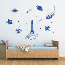 Ik1179 Wall Decal Sticker Star Space Rocket Astronaut Kids Room Stickersforlife