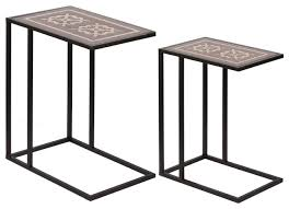 2 piece raj brass inlaid nesting table