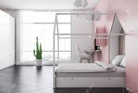 Side View Of Kids Bedroom With White And Pink Walls Dark Wooden Stock Photo Picture And Royalty Free Image Image 115173225