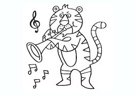 Tô màu Con hổ ngộ nghĩnh thích thổi kèn