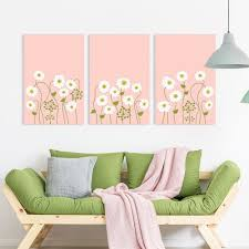Wall26 3 Panel Canvas Wall Art Small White Flowers On Light Coral Color Background Giclee Print Gallery Wrap Modern Home Decor Ready To Hang 24 X36 X 3 Panels Walmart Com Walmart Com