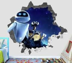 Walle Wall E 2 Eve Wall Decal 3d Smashed Decor Sticker Vinyl Smash Movie Op34