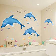 Amazon Com Hldiy Blue Dolphin Fish Bathroom Wall Stickers Kids Nursery Room Decor Sea Ocean Home Kitchen