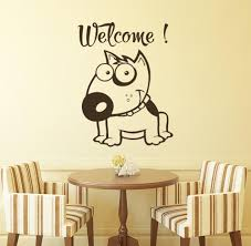 Children Bedroom Home Decor Wall Art Decoration Funny Face Cute Dog With Welcome Quotes Wall Stickers Removable Wallpaper Wall Decals Tree Wall Decals Uk From Onlybrand 5 87 Dhgate Com