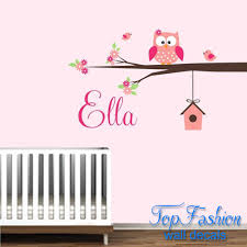 Personalized Name Owl Wall Decal With Birds Birdhouse Children Nursery Wall Decals Vinyl Lettering Wall Art For Kids Room Decor Decal Nail Art Artdecal Wall Aliexpress