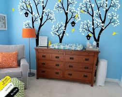 Black Birch Trees With White Leaves Birds Birdhouses Wall Decal Dec Walldecaldesigns