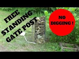 Gabion Rock Cage Fence Posts For Farm Gate Youtube