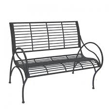 curved charcoal garden bench black