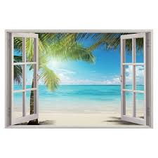 3d Sunshine Beach Window View Removable Wall Art Stickers Vinyl Decal Liked On Polyvore Featuring Home H Window Mural Window Wall Mural Beach Wall Murals