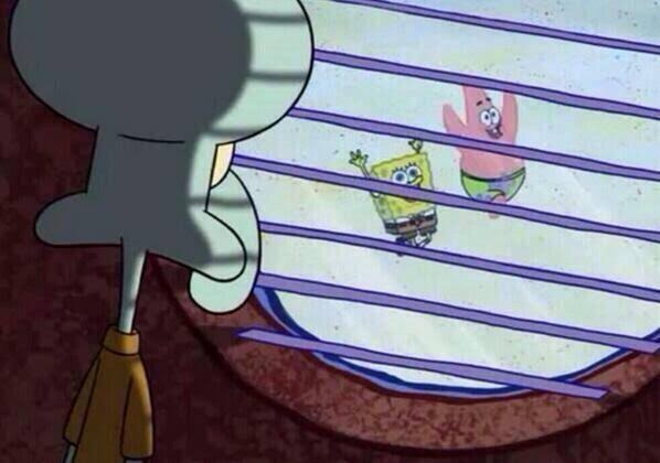 Image result for squidward looking out window""