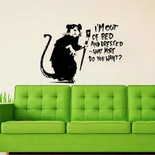 Lazy Rat Banksy Vinyl Wall Decal Home Decor Living Room Art Mural Wall Stickers Removable Wall Stickers Aliexpress