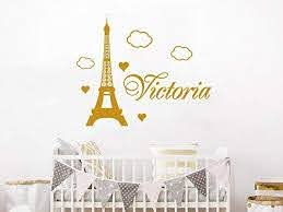Amazon Com Diuangfoong Wall Decal Custom Name Paris Vinyl Sticker Decals Personalized Nursery Decor Eiffel Tower Wall Decor Kids Room Childrens Bedroom Home Kitchen
