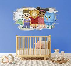 Amazon Com Broken Wall 3d Effect Daniel Tiger And His Friends Removable Wall Decal Vinyl For Home Decoration 39 X 20 Arts Crafts Sewing