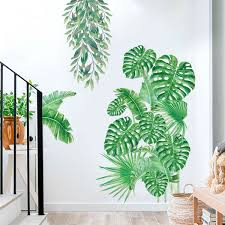 Tropical Plant Leaf Wall Sticker Decal For Home Decoration Baby Nursery Room Waterproof Removable Wall Stickers Wallpaper Wish