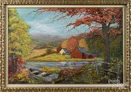 American oil on board landscape with a farm, signed Madge Smith ...