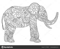 Adult Coloring Book Elephant Elephant Coloring Book Vector For