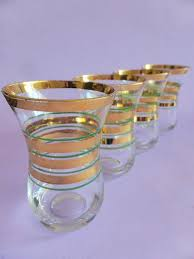 gold striped drinking glasses