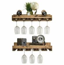 floating wine shelf and glass rack