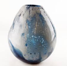 hand blown glass bubble vase white