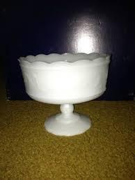 white milk glass pedestal candy dish