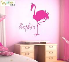 Personalized Name Wall Sticker Flamingo Wall Decal Kids Room Bedroom Home Decor Ebay