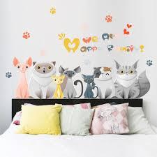 Removable Vinyl Lovely Cats Wall Sticker Decal Mural Children Kids Room Art Home Decor Kids Bedro Diy Wall Decals Wall Stickers Cats Removable Wall Decals Diy
