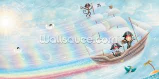 flying pirate ship wallpaper by patrick