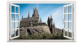 Amazon Com Chicbanners Harry Potter Hogwarts Castle 3d Magic Window V901 Wall Sticker Self Adhesive Poster Wall Art Size 1000mm Wide X 600mm Deep Large Home Kitchen