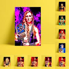 Hd Print Wrestling Sports Player Oil Painting Home Decor Wall Art On Canvas John Cena Sasha Banks Seth Rollins Toni Storm Etc Aliexpress