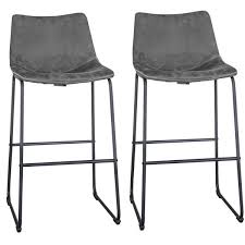 gray faux leather bar stool set