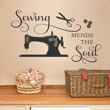 Craft Room Wall Decal Sewing Mends The Soul Sewing Room Vinyl Wall Lettering Crafting Office Wall Quote Gift For Seamstress Or Crafter Sewing Room Decor Quilting Room Craft Room