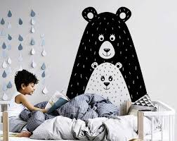 Cute Bears Wall Decal Forest Tribal Woodland Baby Bear Wall Decals Scandinavian Nursery Decor Vinyl Wall Stickers B131 Wall Stickers Aliexpress
