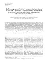 Do FY Antigens Act As Minor Histocompatibility Antigens in the  Graft-Versus-Host Disease Paradigm After Human Leukocyte Antigen-
