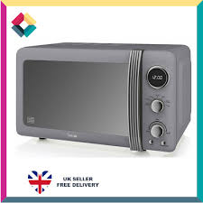 swan 800w retro grey digital microwave
