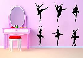 Amazon Com Beautiful Ballet Ballerina Wall Decal Removable Dancing Ballet Girls Wall Sticker For Dancing Room Women Bedroom Vinyl Wall Decals Black Arts Crafts Sewing