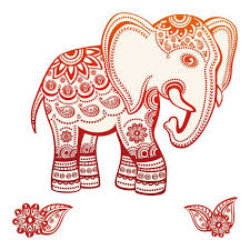 Wall Decal Living Room India Elephant With Pattern Red Wall Etsy